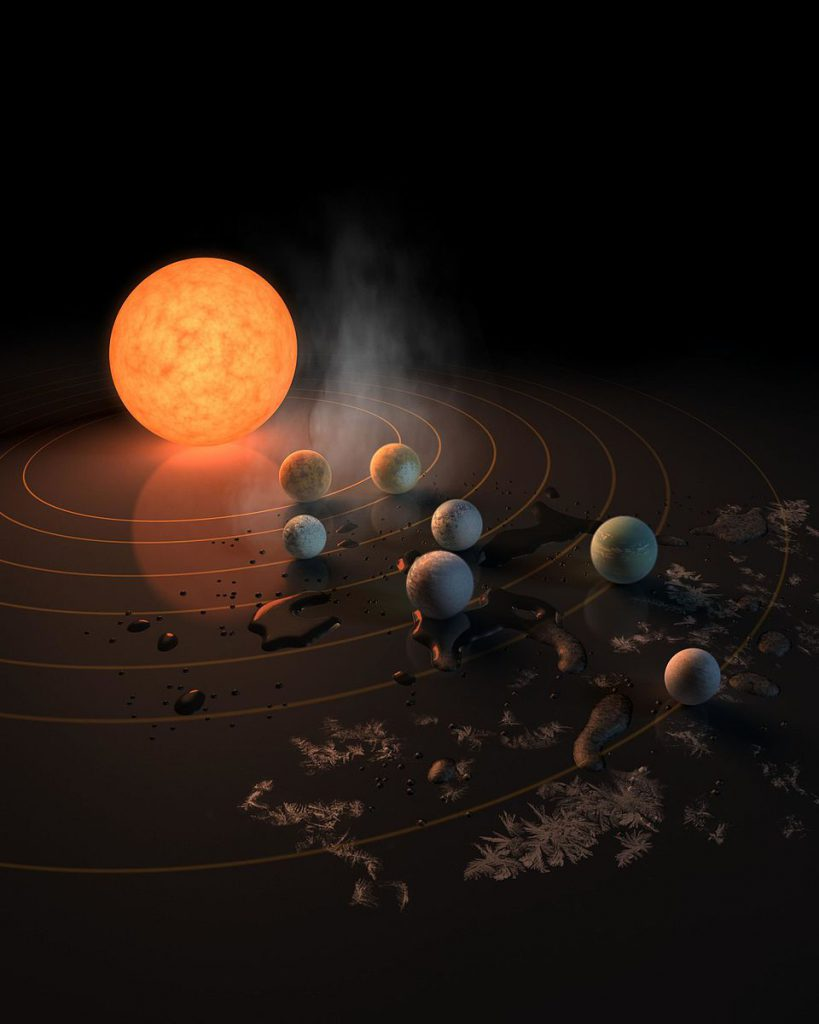 An artists depiction of the Trappist-1 star system