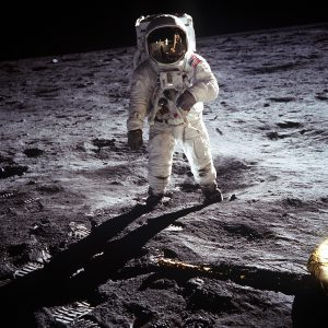 A picture of Buzz Aldrin on the moon