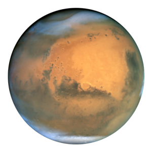 A picture of Mars on a transparent background