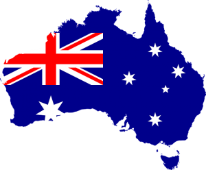 A map of Australia with it's flag over the continent