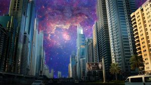 A futuristic Chinese city with a cosmic sky